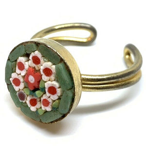 Vintage Micro Mosaic Italian Ring Italy gold green